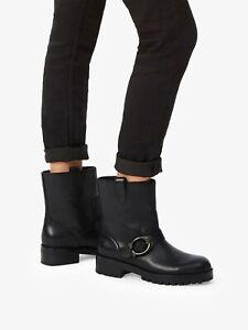 BNIB COACH LEIGHTON BOOTIE WOMEN'S BLACK LEATHER MID CALF BOOTS UK 6.5 RRP £295
