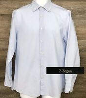 Ermenegildo Zegna  Z City Men's Blue Striped Long Sleeve Designer Shirt 41 16