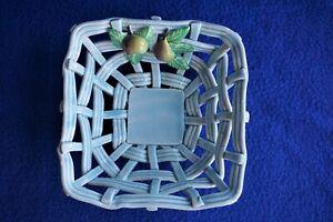 VTG Lattice Weave Blue Ceramic Candy Dish w/Raised Fruit Made in Spain