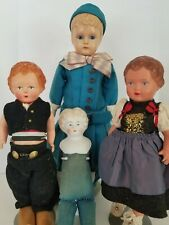 Group of 4 Antique Dolls - 3 Celluloid, 1 China