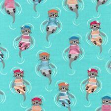 Nautical Fabric - Flippers & Fins Swimming Otter Blue - Robert Kaufman YARD
