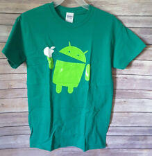 Android Eats Apple T-Shirt Nerd/Computer Size S Green NWOT