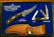 "Schrade 152OT Knives Gift Set & 34OT ""Bone Daddy Inscription"" W/Packaging Rare"