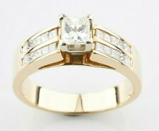 14k Yellow Gold Princess Solitaire Engagement Ring w/ Accent Stones TCW = 1.45 c