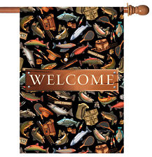 Toland Angler A-Lure Welcome 28 x 40 Outdoors Fishing Bass Salmon House Flag