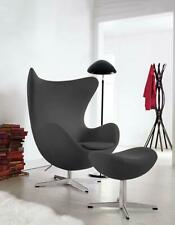 Arne Jacobsen Egg Chair And Ottoman Footstool Black Real Leather Last One