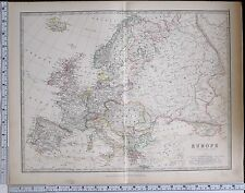 1881 Antik Karte Europa Britische Inseln Austro Hungarian Monarchy Preußen