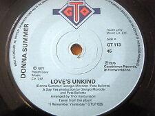 """DONNA SUMMER - LOVE'S UNKIND  7"""" VINYL"""
