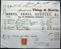 Boston Thing & Norris Boot Shoe & Rubbers Manufacturer 1867 Billhead Receipt
