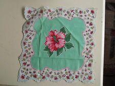 Vintage Square Red Green White Rose Pattern Linen Hanky Hankerchief Doilie