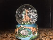 Zoo Miami Metro Giraffe Snow Globe Snowdome Water Musical Mother & Baby ~15~