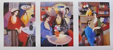 Itzchak Tarkay CAFE SELECT Facsimile Signed Triptych Lithograph