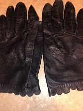 Vintage Black Leather Gloves Miss Aris Sz 6.5 Scalloped Edges - Cute!