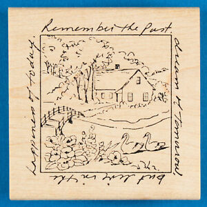 """Country House with River Bridge Stamp """"Live in the Happiness of Today"""" - Swans"""