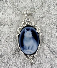 AGATE CAT CAMEO -- STERLING SILVER GEMSTONE JEWELRY WITH CHAIN