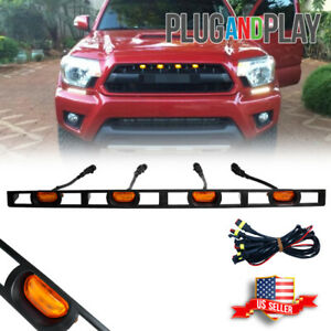 For 2012-15 Toyota Tacoma Front Hood Grille Amber LED Lights Assy w/Wire Harness