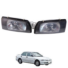 For 1992-1994 Mitsubishi Lancer E-car Ecar Evo 1 2 3 Head Lamp Lights Black Pair