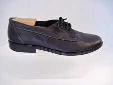 David & Joan Vintage Mens Oxford Black Leather Shoes Size 10 1/2, Made In Italy