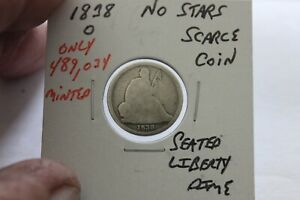 1838-O   NO STARS  ONLY 489.024 MINTED   SEATED LIBERTY DIME
