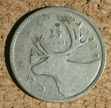 1939 - Canada 25 cent coin - silver Canadian quarter