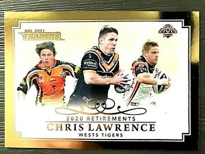 2021 NRL TRADERS '2020 RETIREMENTS' TRADING CARD - CHRIS LAWRENCE/TIGERS