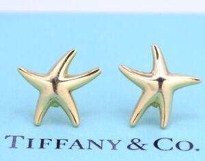 TIFFANY&Co Star Fish Pierced Earrings Peretti 18k Yellow Gold w/BOX