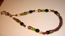 FASHION NECKLACE WITH MULTI COLOR BEADS BRASS LINKS SIGNED CHICO'S ESTATE