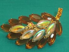 Beautiful Amber & Opalescent AB Marquise Rhinestone Brooch Open Back
