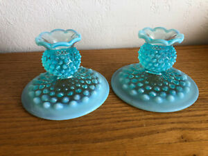 Vintage Fenton Glass Blue Opalescent Hobnail  Pair of Candle Holders