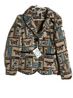 Butterfly Tapestry Jacket Isabella's Journey S/M Tan Brown Blue New Garden Lined