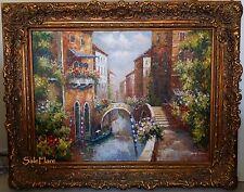 Beautiful Venetian Waterway Art Oil Painting Canvas Signed HUGE Frame 62x50