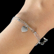 Dainty Tiny ~Love Heart Mother's Day Simple 2 Chain Bracelet Valentine's Jewelry