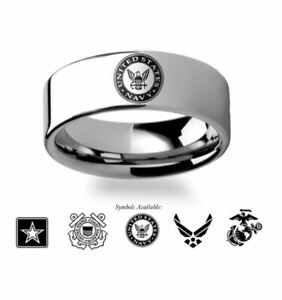 Military Wedding Rings -  Army, Navy, Marines, Air Force or Coast Guard