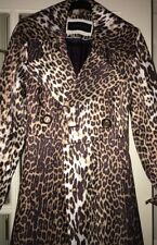 Elie Tahari Couture Leopard Trench Coat Lined double breasted Small