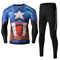 Mens Superhero Tight Compression Jersey+Pants Fitness Running Gym Clothing Suit