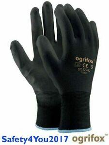 12 24 or 120 Pairs Black Nylon Safety Work Gloves Garden Grip Builder BN