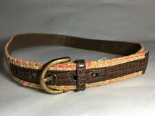 Womens Liz Claiborne Multi Color Jute Tweed Fabric Fashion Belt Size M