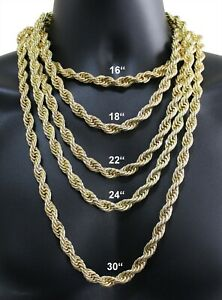 """Chunky Rope Chain 14k Gold Plated 16""""-30"""" Choker Hip Hop Solid Necklace"""