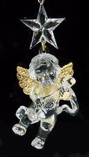 Plastic Clear Gold Star Cherub Angel Christmas Ornament Holiday Decoration