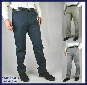 pantaloni uomo taglie forti eleganti estivi a vita alta cotone chino 58 60 62 64
