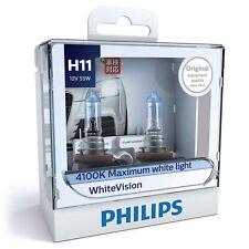 Philips H11 White Vision Headlight Globe Pair Maximum White Ultimate Brightness
