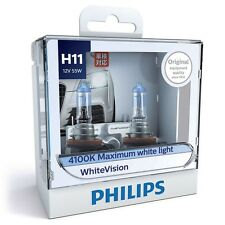 Philips H11 White Vision Headlight Globe Pair Intense White Xenon Light Effect