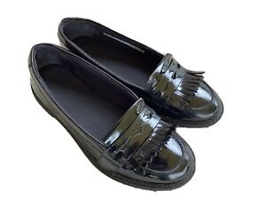 GIRLS CLARKS SCALA BRIGHT BLACK PATENT SLIP ON SCHOOL SHOES SIZE 4F IMMACULATE