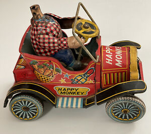 RARE 1957 Happy Monkey Tin Metal Japan Vintage Friction Car Toy  PARTS / REPAIR