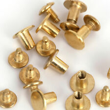RUBYCA Flat Round Metal Studs Spikes Spots Screws Silver Black Gold Leathercraft