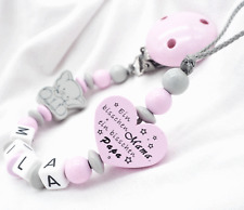 Schnullerkette mit Namen★ELEFANT Ein bisschen Mama, bisschen Papa★Mädchen rosa