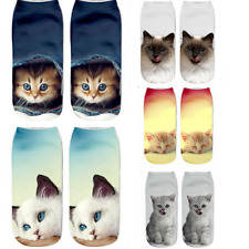 5 pairs Women Girls 3D Cartoon Print Colorful CAT Kitty Casual Novelty Crew Sock