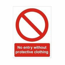 No Entry Without Protective Clothing Sign 150mm x 200mm Self Adhesive Vinyl