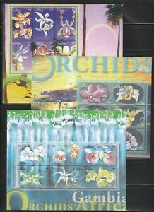 Gambia   2001   Sc # 2583-85   Orchids    3  Sheet of 6   MNH   (54590)
