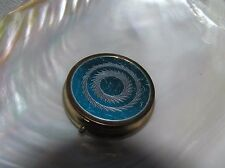 Vintage Made in Hong Kong Marked Etched Blue Lidded Round Metal Pill Holder –